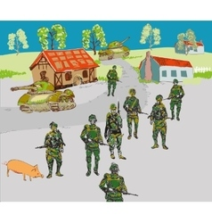 Soldiers in the city vector