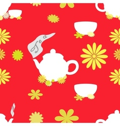 Tea seamless pattern of red tint vector