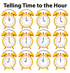 Telling time to the hour on yellow clock vector