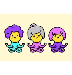 Three happy cartoon style old ladies doing yoga vector