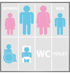Toilet Sign with Toilet Men and Women WC vector image