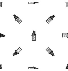 Two storey house with attic pattern seamless black vector
