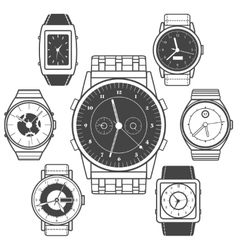 Hand watch black icons set vector image