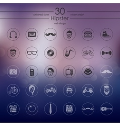 Set of hipster icons vector