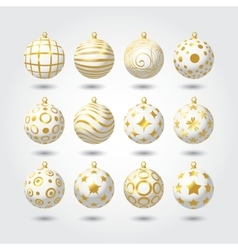 Set white and gold Christmas balls vector image