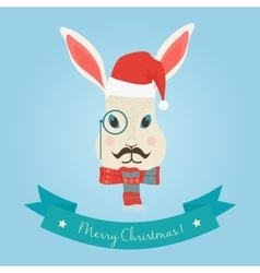 Christmas cute forest hare bunny rabbit head logo vector