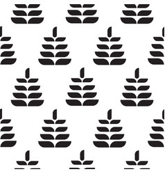 Abstract leaves black petal seamless pattern vector