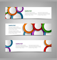 Collection white banners with colorful circles vector