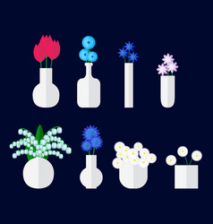 set of bouqet of flower in vase vector image