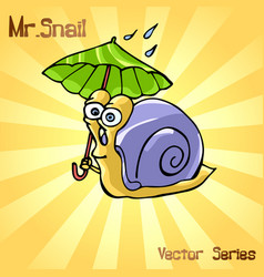 Mr snail with umbrella vector