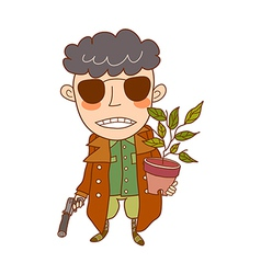 Close-up boy holding pot and gun vector
