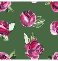 Watercolor seamless pattern with roses and leaves vector