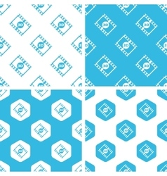 3d movie patterns set vector