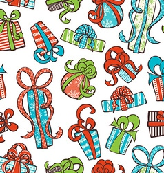 Seamless gifts pattern vector