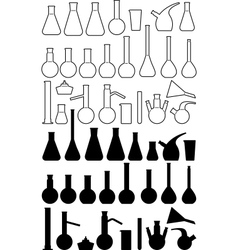 Glass chemical laboratory ware vector