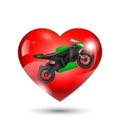 Motorcycle inside red heart vector