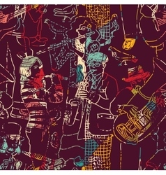 Color music jazz band seamless pattern vector image