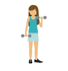 Female athlete practicing weight lifting vector