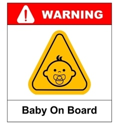 Baby on board sign on white background vector