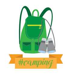 backpack with binocular and hashtag camping vector image