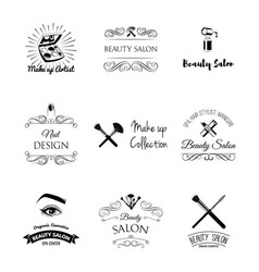 beauty salon design elements in vintage style vector image
