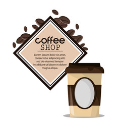 Coffee shop paper cup beverage vector