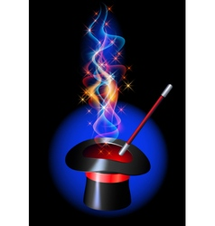 Conjurer hat with magic wand vector image