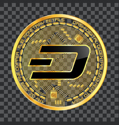 Crypto currency dash golden symbol vector