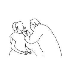 Doctor examining nasal cavity of female patient vector