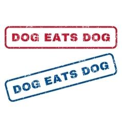 Dog eats dog rubber stamps vector