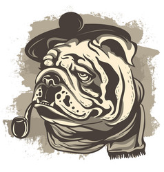 Drawing of a bulldog detective wearing a cap and vector