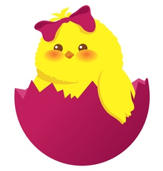 easter egg and chick vector image vector image
