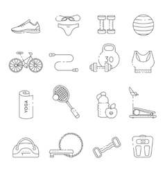 Fitness Gym Line Icon Set vector image vector image
