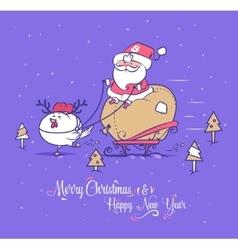 Funny santa set Christmas greeting card vector image vector image