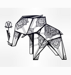 geometric origami elephant in paisley with flower vector image