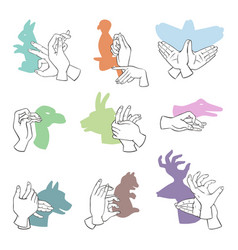 Hands gesture like different animals imagination vector