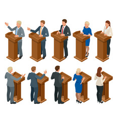 Isometric public orator speaking from tribune vector