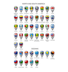 Map marker set with flags of north and south vector