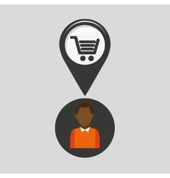 Market shop pin location man design vector