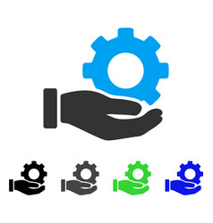 Mechanic gear service hand flat icon vector