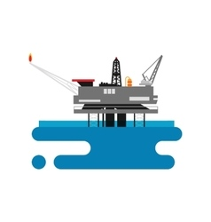 Offshore oil platform in the blue ocean Flat vector image vector image