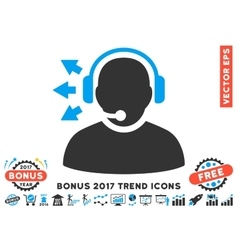 Operator answer speech flat icon with 2017 bonus vector