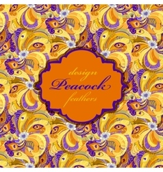 Orange peacock feathers pattern background vector image vector image