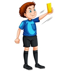 Referee showing yellow ticket vector