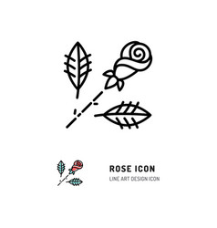 rose icon flower rose logo line art design vector image