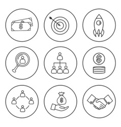 Set of thin line bussines icon vector image