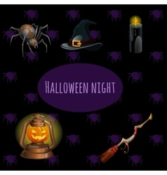 Set witches on halloween party vector