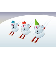 Snowmen on skis vector image vector image