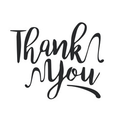 Thank you black handwritten inscription vector