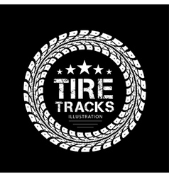Tire tracks on black background vector image vector image